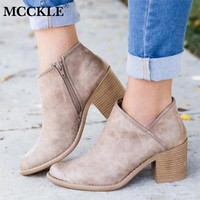 MCCKLE Women High Heels Plus Size Concise Thick Block Heel Shoes Woman Fashion Zipr Ankle boots Female Elegant Casual Footwear
