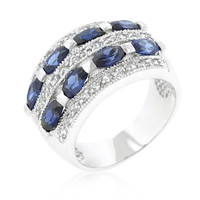Pave Purple And Clear Cubic Zirconia Cocktail Ring, size : 10