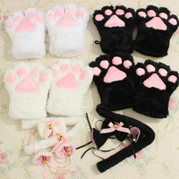 Kitten Cat Maid Cosplay Role Play Anime Costume Gloves Paw Ear Tail Tie Party = 1958040388