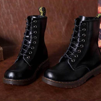 Retro Cool Leather Lace Up Womens Combat Military Ankle Boots Shoes