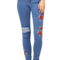 Rose Vine High Waist Skinny Jeans