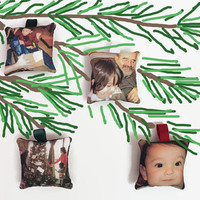 Photo Ornaments Set of Four, Custom Photo Ornaments, Instagram Photo Ornaments, Your Choice of Ribbon Color
