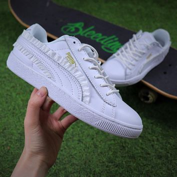 Puma Suede Heart All White Lace Women Shoes Sneaker