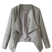 Gray Faux Suede Long Sleeve Slim Blazer