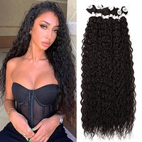Meepo Hair Synthetic Hair Bundles Corn Curly Hair Extensions 28 inch 70cm 3Pcs/lot Light Brown Ombre Weave Hair Synthetic Fiber