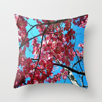 Flowers, Nature, Spring Blossoms, Pink Blue-Decorative Throw Pillow Cover, 3 Sizes Available-Home, Office, Newlywed Gift-Made To Order-SB#08