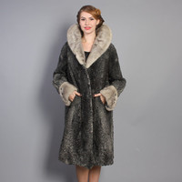 50s Persian Lamb & Mink FUR COAT / Charcoal grey, s - m