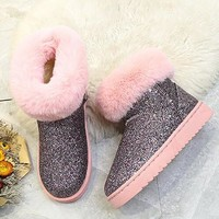 New Pink Round Toe Sequin Fashion Ankle Boots