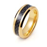 Yellow Gold Carbon Fiber Ring Mens Tungsten Ring 8mm 18k Tungsten Carbide Male Black Carbon Fiber Band Beveled Edges High Polished