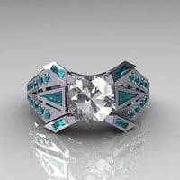 Modern Edwardian 10K White Gold CZ and Aquamarine by artmasters