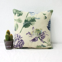 Floral cushion cover, small 12 inch pillow cover, Blue and purple flowers, Laura Ashley fabric,  small throw pillow, handmade in the UK
