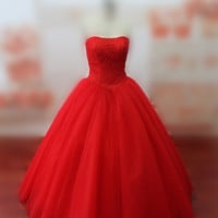 Real Photos Women's Red Dress Strapless Red Lace and Tulle Ball Gown