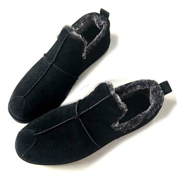 Winter New Snow Boots Loafers suede flock warm plush ankle warm men cotton shoes
