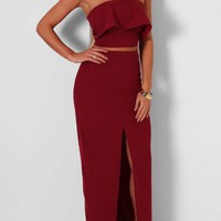 Tromso Wine Crop Top and Maxi Skirt Set | Pink Boutique