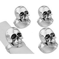 Chrome Skull Napkin Ring Set