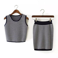 2Pcs Knitted Striped Wave Pattern Sleeveless Bodycon Cropped Top Mini Skirt Set
