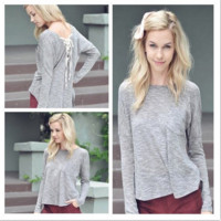 Grey Lace Up Back Long Sleeves Loose Top