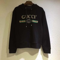 DCCKH3F GUCCI Women/Man GUCCI Classic Logo Wolf head Embroidery Top Sweater Pullover Hoodie