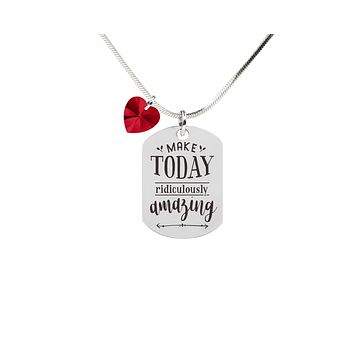 Inspirational Tag Necklace In Red Made With Crystals From Swarovski By Pink Box