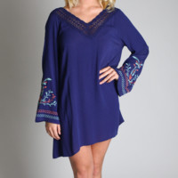 Umgee Navy Embroidered Bell Sleeve Dress
