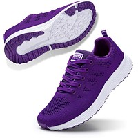 STQ Walking Shoes for Women Casual Lace Up Lightweight Tennis Running Shoes 9 All Purple