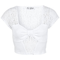 White Bow Tab Lace Crop Top - Tops  - Apparel