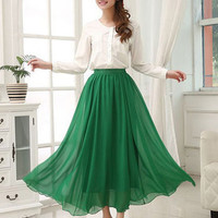 Casual High-Waisted Chiffon Maxi Skirt