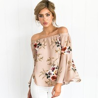 European Style Floral Off The Shoulder Bell Sleeve Blouse