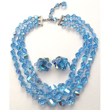 Vogue Blue Crystal Bead Necklace & Earrings Set