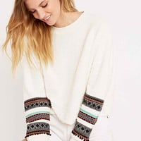 Staring at Stars Festival Trimmed Sweatshirt in White - Urban Outfitters