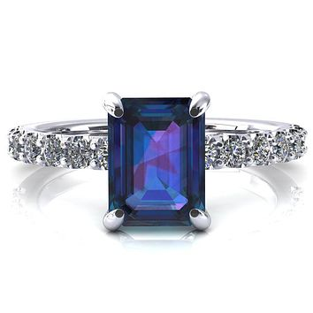 Alessi Emerald Alexandrite 4 Claw Prong 3/4 Micro Pave Engagement Ring