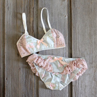 Mint and Pink 'Vapor' Floral and Lace Ruffle Lingerie Set Handmade to Order