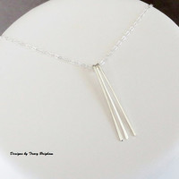 Sterling Silver 3 Piece Spike Necklace Gift Idea Best Friend Mother Sister Girlfriend Wife Bridesmaid Christmas