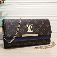 Louis Vuitton LV classic fashion ladies stitching leather cosmetic bag, messenger bag, chain bag