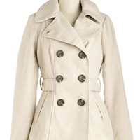 ModCloth Mid-length Long Sleeve Double Breasted Farm Here to Eternity Coat in Sand