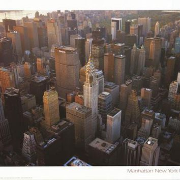 Manhattan New York Aerial View Poster 24x34