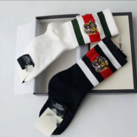 Gucci Fashion Casual Online Striped Tiger Head Embroidered Socks G