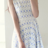 Blue and White Geometric Patterned Dress