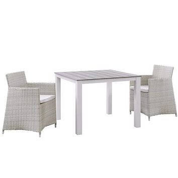 Junction 3 Piece Outdoor Patio Wicker Dining Set, Gray White