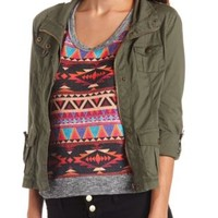 Zip-Up Cotton Military Jacket by Charlotte Russe - Olive