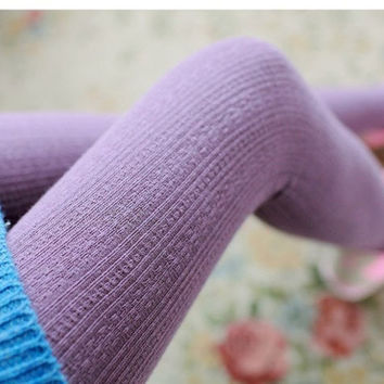 Winter Warm Candy Color Twist Wheat Stripe Knit Thick Stretchy Pantyhose Foot Tights Stirrup Leggings +Free Gift Tatto Choker Necklace