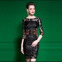 plus size pencil dress with embroidery Spring new net yarn flower embroidery package hip pencil lace dress