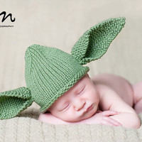 Yoda Inspired Hat, Ready To Ship, Hand Knit Baby Costume, Perfect 4 Your Star Wars Fan, Halloween Costume, Knitted Newborn Photo Prop