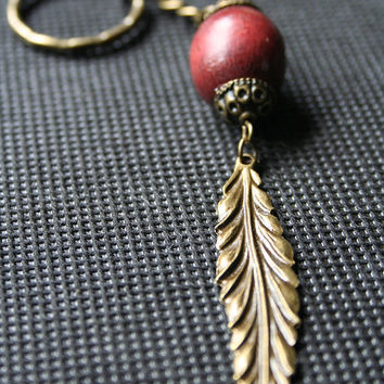 2 Antique Bronze Effect Bag Charms, Leaf Charms Set, Purse Charms, Key Chains, Fall Autumn Charms, Wooden Bead, Carnelian