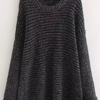 Black Knit Loose Sweater