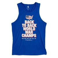 Back to Back World War Champs Tank Top - America Silhouette Edition in Royal Blue by Rowdy Gentleman