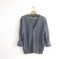 Vintage gray Button Up cardigan. Oversized button down Sweater // grandpa sweater
