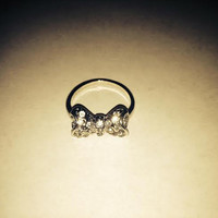 Vintage Early 1990s Silver Tone Bow Design Cubic Zirconia CZ Size 7 Ring