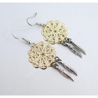 Mixed Metal Dreamcatcher Earrings