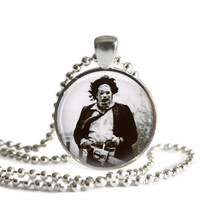 Texas Chainsaw Massacre Necklace Leatherface Silver Plated Picture Pendant